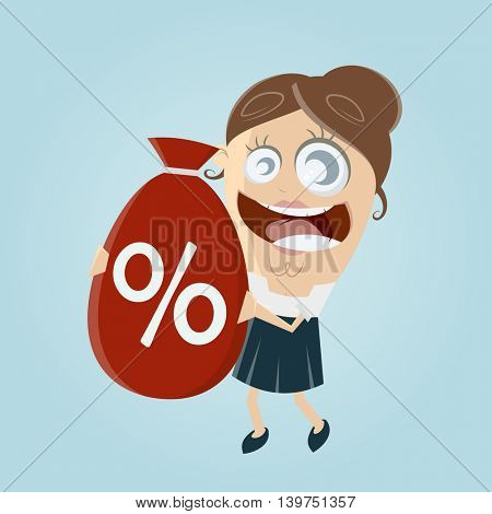 funny businesswoman with big discount bag