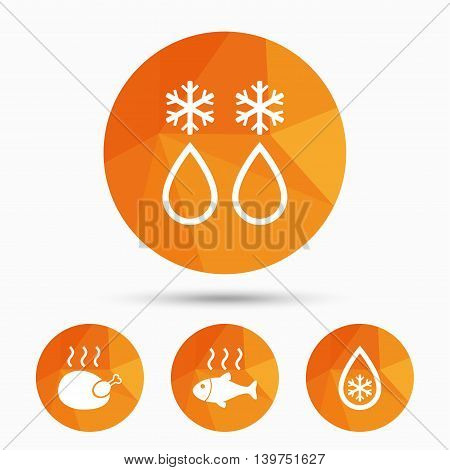 Defrosting drop and snowflake icons. Hot fish and chicken signs. From ice to water symbol. Triangular low poly buttons with shadow. Vector