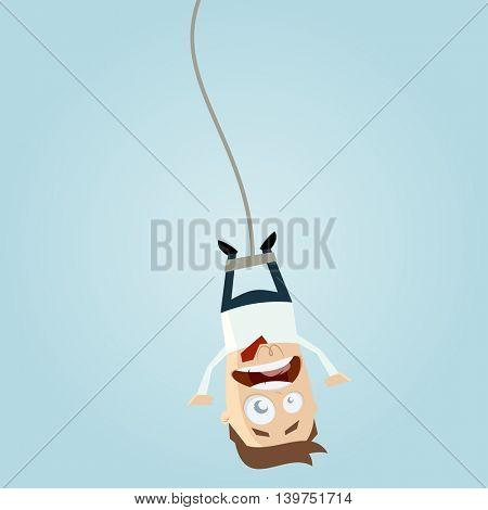 bungee jumping businessman