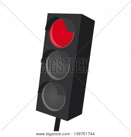 isolated traffic light with red light on