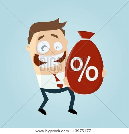 funny businessman with big discount bag