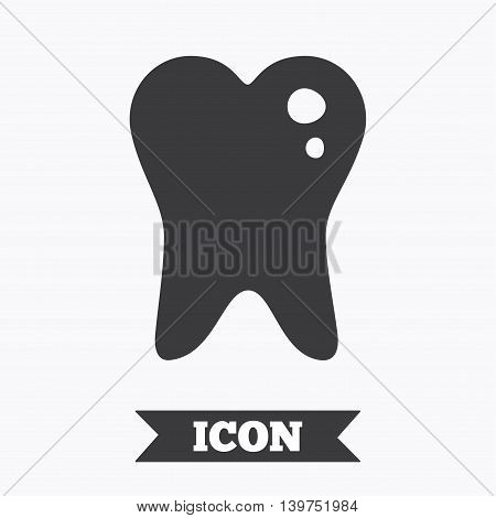 Caries tooth icon. Tooth filling sign. Dental care symbol. Graphic design element. Flat caries symbol on white background. Vector