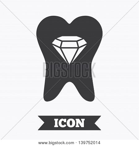 Tooth crystal icon. Tooth jewellery sign. Dental prestige symbol. Graphic design element. Flat tooth symbol on white background. Vector