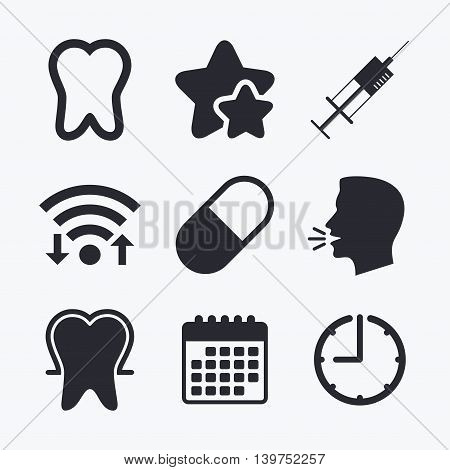 Tooth enamel protection icons. Medical syringe and pill signs. Medicine injection symbol. Wifi internet, favorite stars, calendar and clock. Talking head. Vector