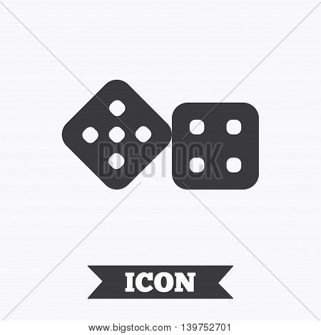 Dices sign icon. Casino game symbol. Graphic design element. Flat dice symbol on white background. Vector