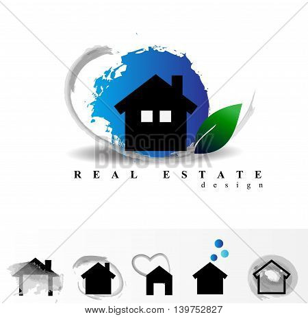 Vector set real estate building design.Home sale