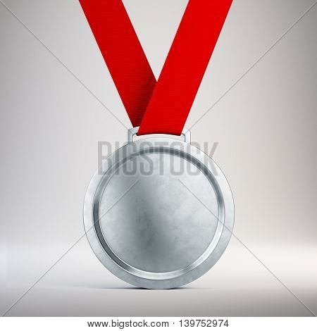 Second place Silver medal with red ribbon on gray background - 3d illustration
