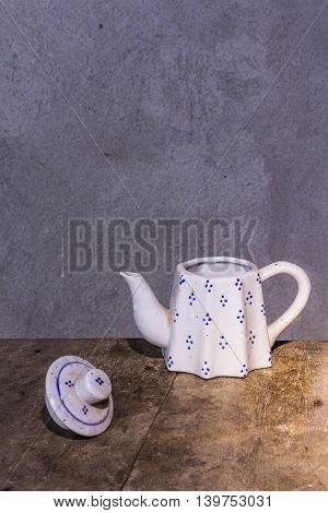 still life classic ceramic kettle , art