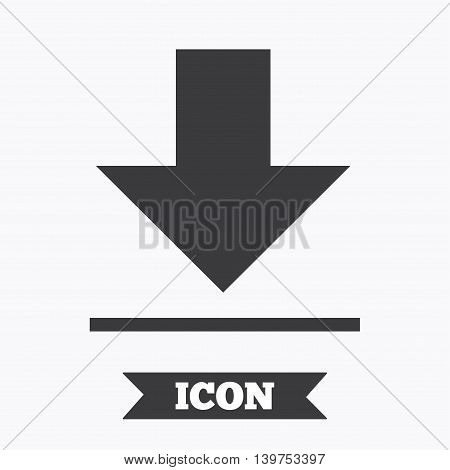 Download icon. Upload button. Load symbol. Graphic design element. Flat download symbol on white background. Vector