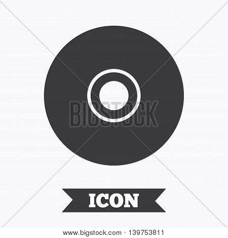 CD or DVD sign icon. Compact disc symbol. Graphic design element. Flat disc symbol on white background. Vector