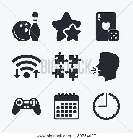 Bowling and Casino icons. Video game joystick and playing card with puzzles pieces symbols. Entertainment signs. Wifi internet, favorite stars, calendar and clock. Talking head. Vector