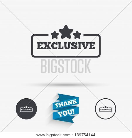 Exclusive sign icon. Special offer with stars symbol. Flat icons. Buttons with icons. Thank you ribbon. Vector