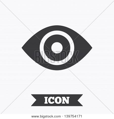Eye sign icon. Publish content button. Visibility. Graphic design element. Flat eye symbol on white background. Vector