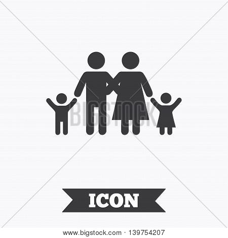 Family icon. Parents with children symbol. Family insurance. Graphic design element. Flat family symbol on white background. Vector