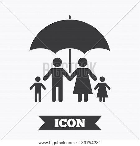 Complete family insurance sign icon. Umbrella symbol. Graphic design element. Flat insurance symbol on white background. Vector