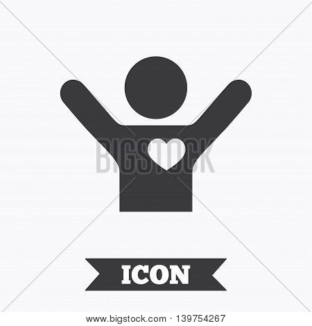 Fans love icon. Man raised hands up sign. Graphic design element. Flat fan love symbol on white background. Vector