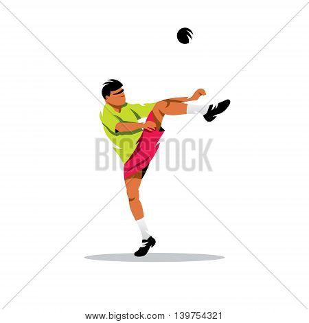 The athlete kicks the ball. Isolated on a white background