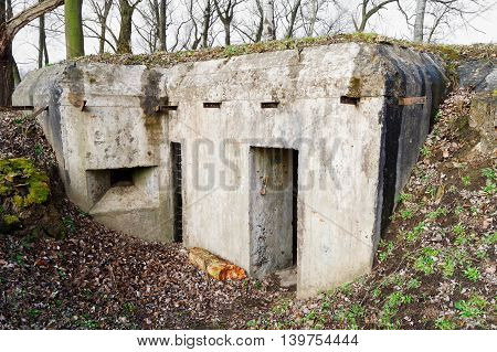 old concrete bunker from the time of World War I