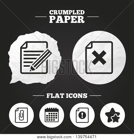 Crumpled paper speech bubble. File attention icons. Document delete and pencil edit symbols. Paper clip attach sign. Paper button. Vector