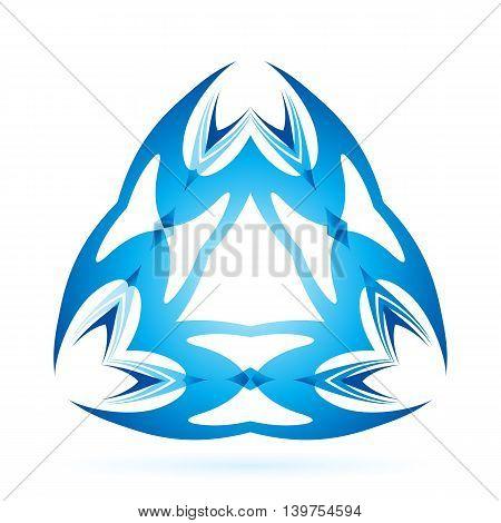 Graphic blue element of triangular shaped on white background