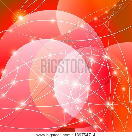 Red Internet background with shiny network dots concept
