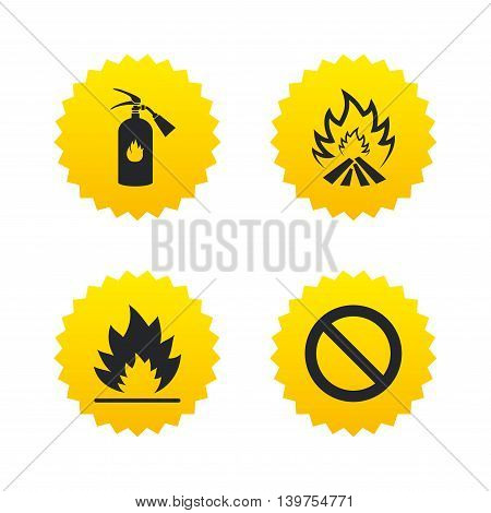 Fire flame icons. Fire extinguisher sign. Prohibition stop symbol. Yellow stars labels with flat icons. Vector