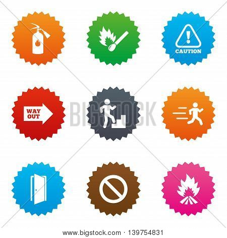 Fire safety, emergency icons. Fire extinguisher, exit and attention signs. Caution, water drop and way out symbols. Stars label button with flat icons. Vector