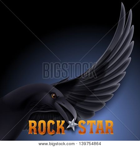 Rock star concept with raven holding star in its beak over dark blue background