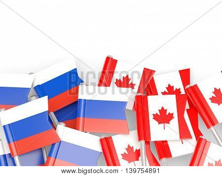 Flags Of Russia And Canada  Isolated On White