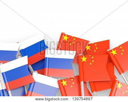Flags Of Russia And China Isolated On White