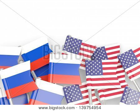Flags Of Russia And Usa  Isolated On White