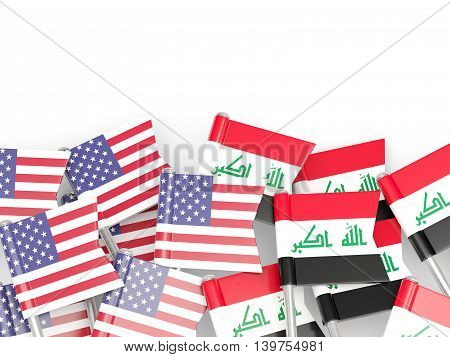Flags Of Usa And Iraq  Isolated On White