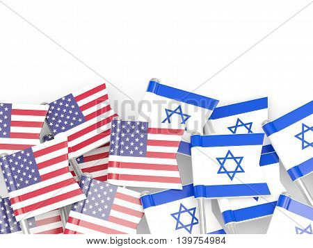 Flags Of Usa And Israel Isolated On White