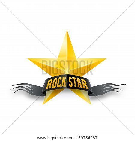 Golden star with black torn Rock Star banner. Illustration on white background