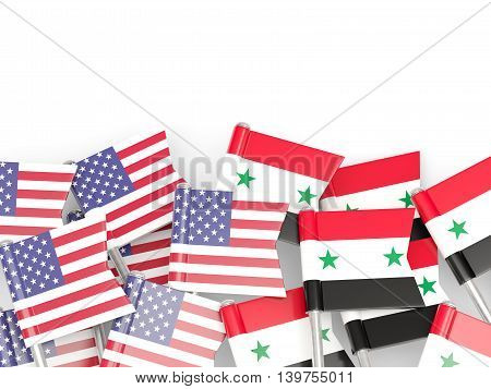 Flags Of Usa And Syria  Isolated On White