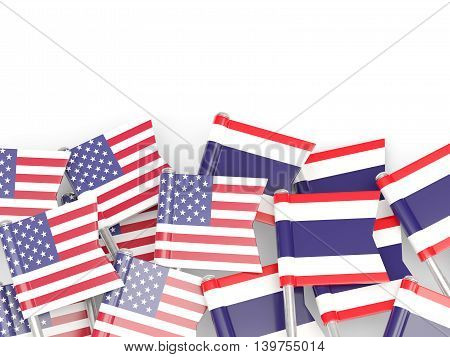 Flags Of Usa And Thailand  Isolated On White