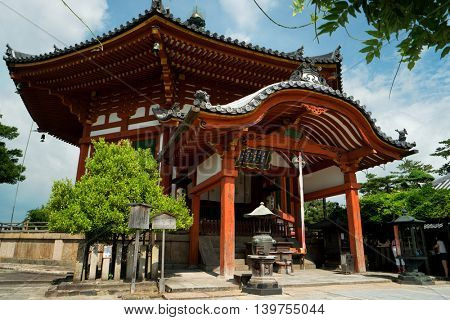 Nara - July 2016: Japanese shrine in sunny day.