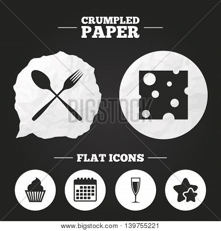 Crumpled paper speech bubble. Food icons. Muffin cupcake symbol. Fork and spoon sign. Glass of champagne or wine. Slice of cheese. Paper button. Vector