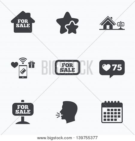 For sale icons. Real estate selling signs. Home house symbol. Flat talking head, calendar icons. Stars, like counter icons. Vector