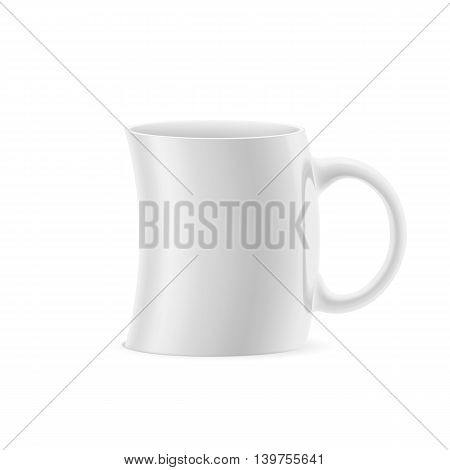 White curve cup of something stay on white background