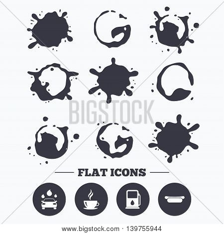 Paint, coffee or milk splash blots. Petrol or Gas station services icons. Automated car wash signs. Hotdog sandwich and hot coffee cup symbols. Smudges splashes drops. Vector