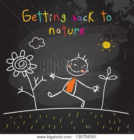 Kids getting back to nature, summer holiday concept vector illustration. Educational chalk on blackboard doodle, sketch.