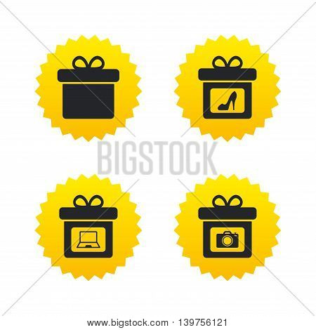 Gift box sign icons. Present with bow symbols. Photo camera sign. Woman shoes. Yellow stars labels with flat icons. Vector