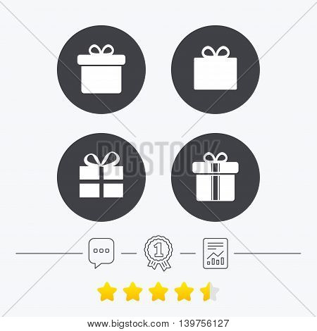 Gift box sign icons. Present with bow and ribbons sign symbols. Chat, award medal and report linear icons. Star vote ranking. Vector