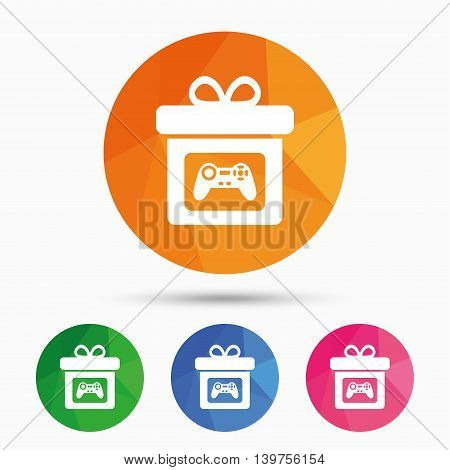 Gift box sign icon. Present with video game joystick symbol. Triangular low poly button with flat icon. Vector