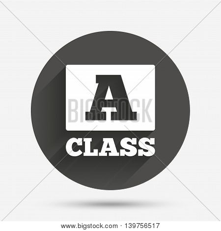 A-class icon. Premium level symbol. Energy efficiency sign. Circle flat button with shadow. Vector