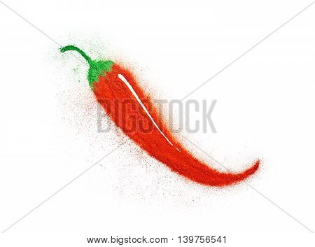 Red and green powder forming a chilli pepper shape isolated on white