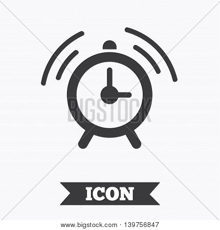 Alarm clock sign icon. Wake up alarm symbol. Graphic design element. Flat alarm symbol on white background. Vector