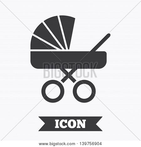 Baby pram stroller sign icon. Baby buggy. Baby carriage symbol. Graphic design element. Flat stroller symbol on white background. Vector