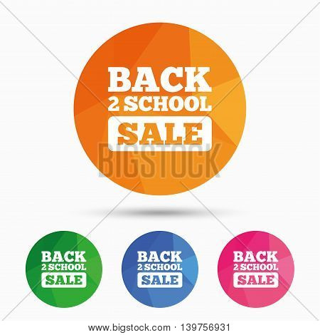 Back to school sign icon. Back 2 school sale symbol. Triangular low poly button with flat icon. Vector